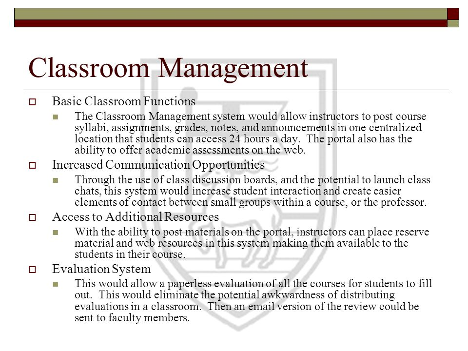 Classroom Management Basic Classroom Functions