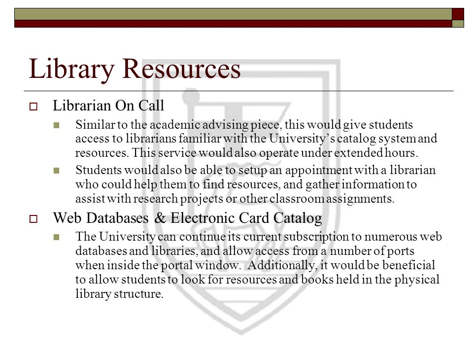 Library Resources Librarian On Call