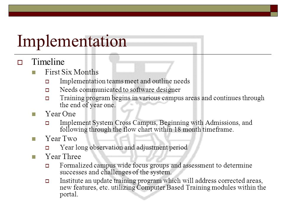 Implementation Timeline First Six Months Year One Year Two Year Three