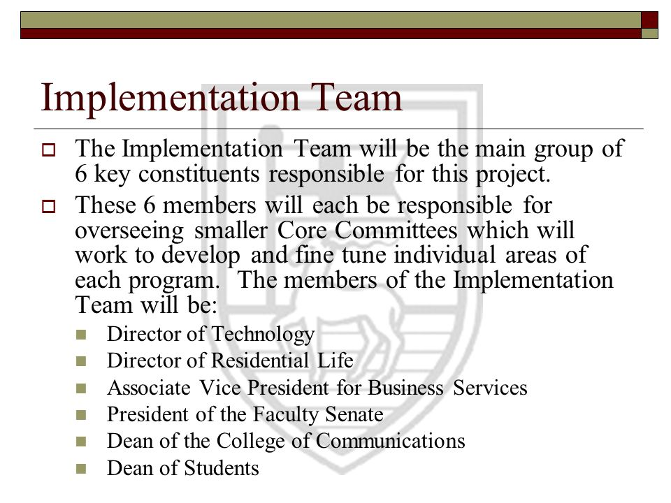 Implementation Team The Implementation Team will be the main group of 6 key constituents responsible for this project.