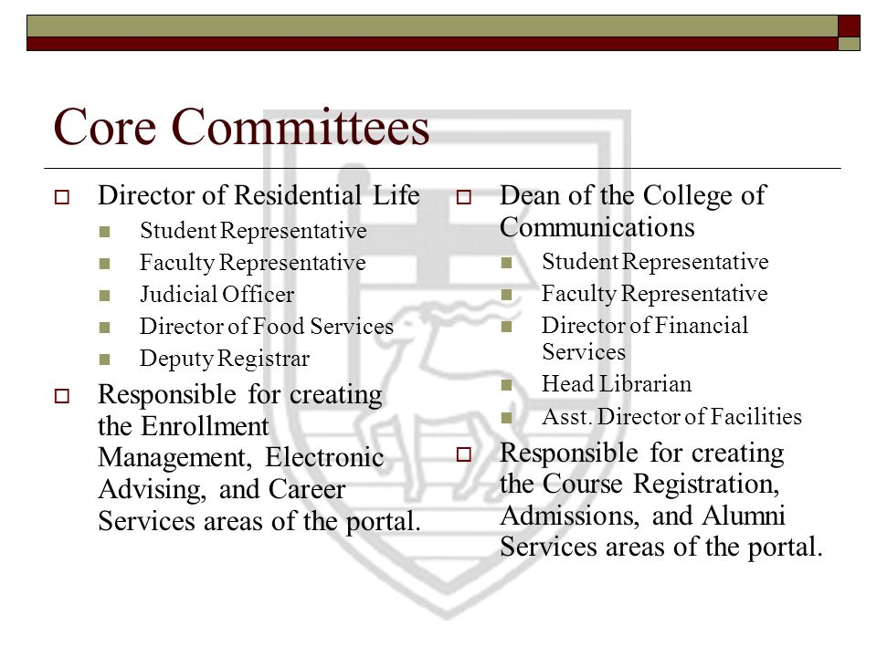 Core Committees Director of Residential Life