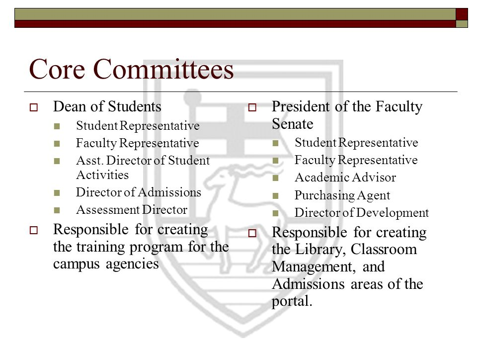 Core Committees Dean of Students