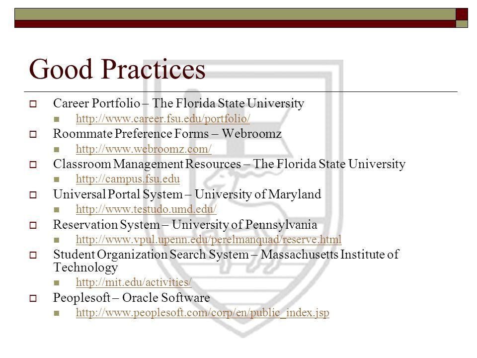Good Practices Career Portfolio – The Florida State University