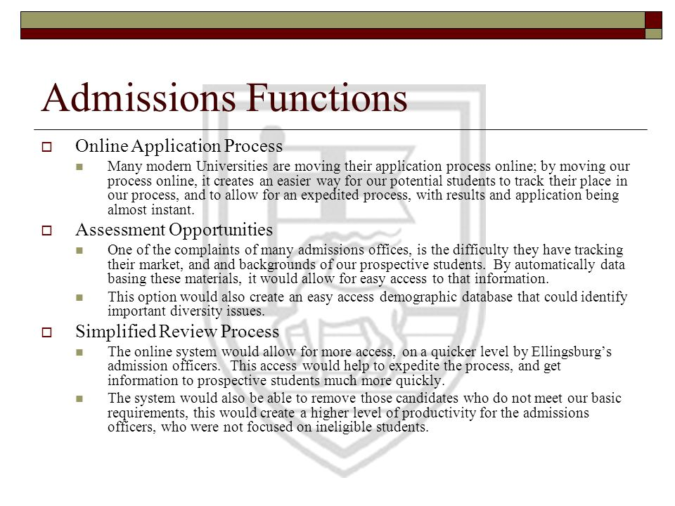 Admissions Functions Online Application Process