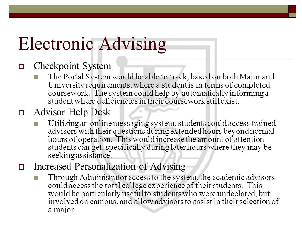 Electronic Advising Checkpoint System Advisor Help Desk