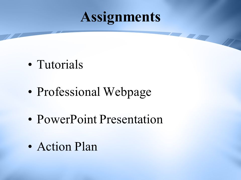Assignments Tutorials Professional Webpage PowerPoint Presentation