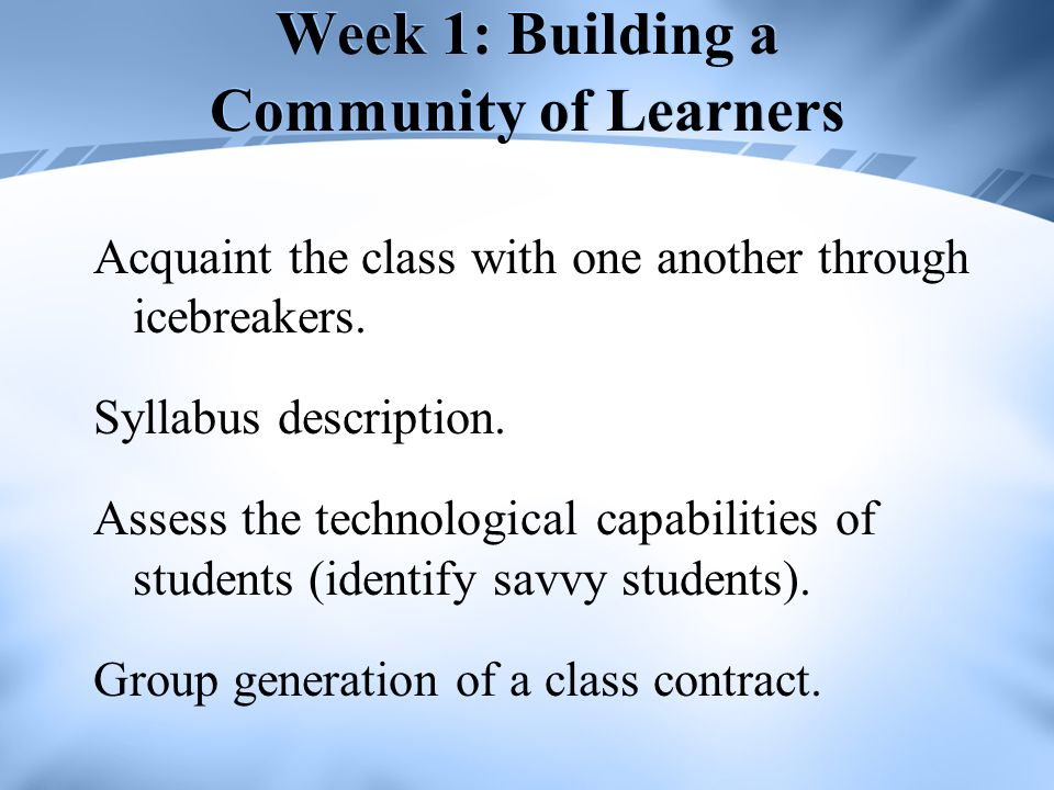 Week 1: Building a Community of Learners