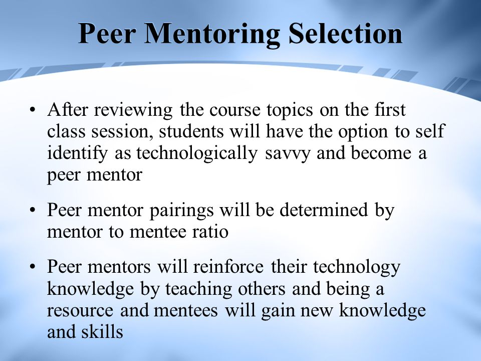 Peer Mentoring Selection