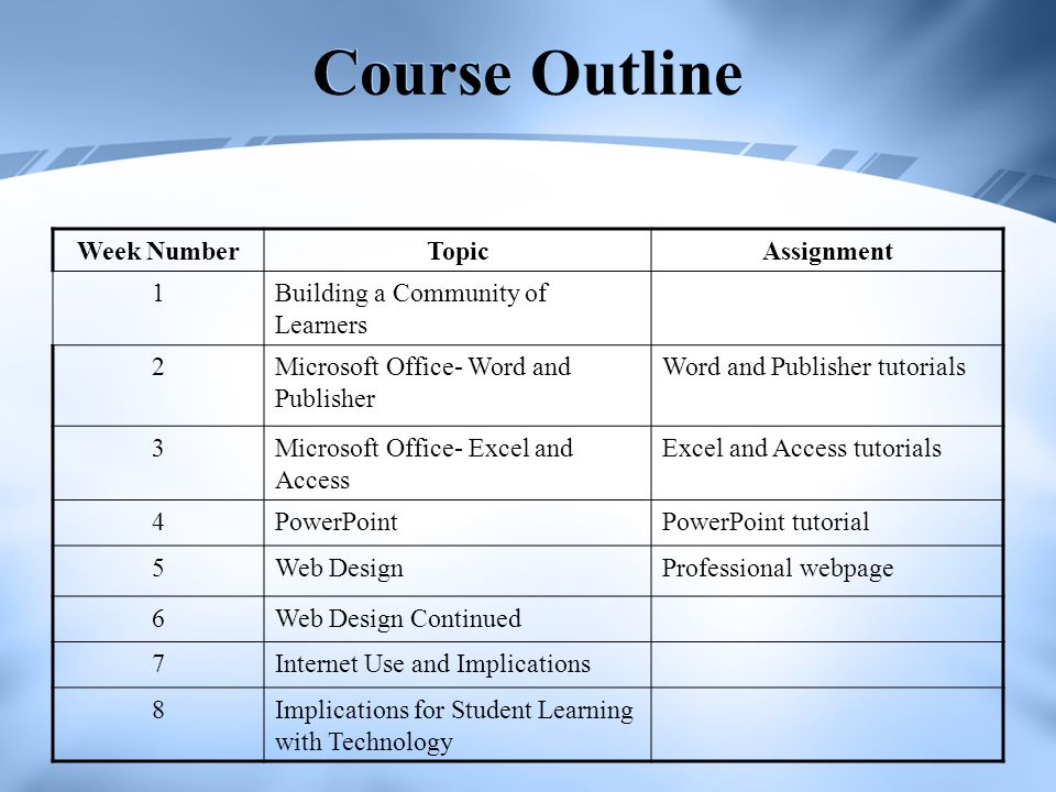 Course Outline Week Number Topic Assignment 1