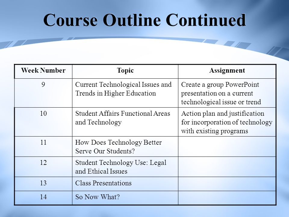 Course Outline Continued