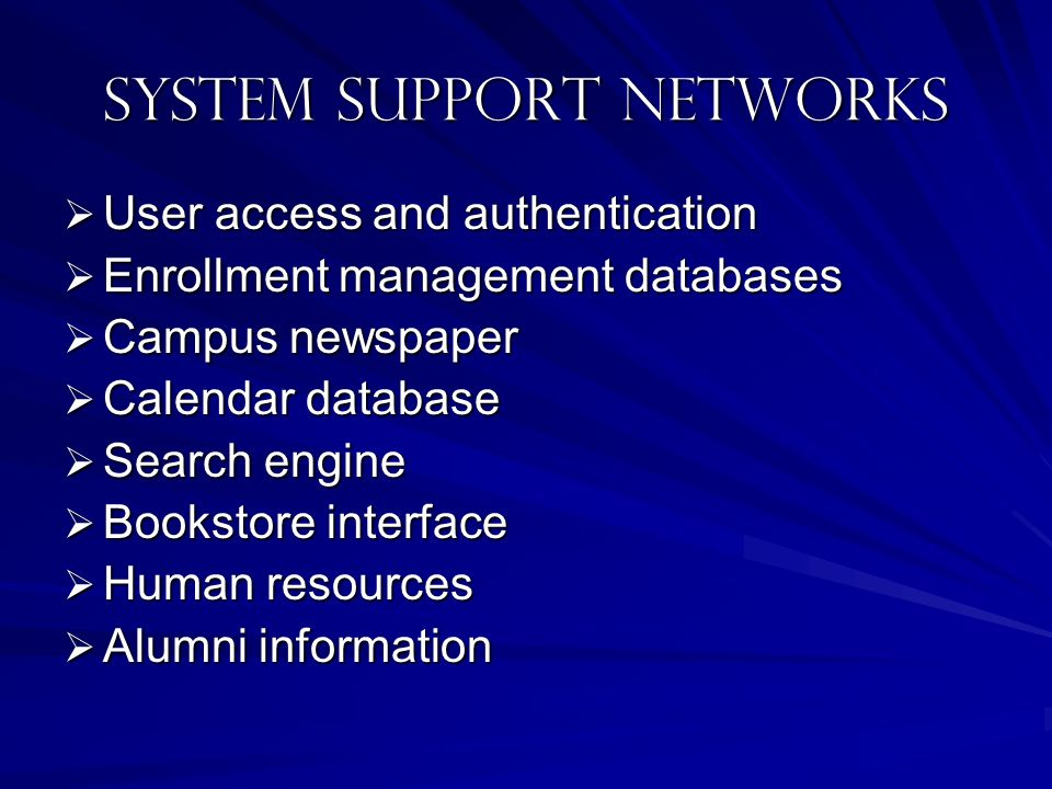System SUPPORT NETWORKS