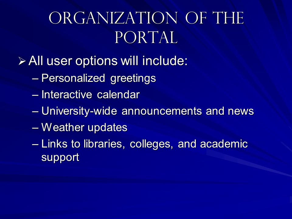 Organization of the portal