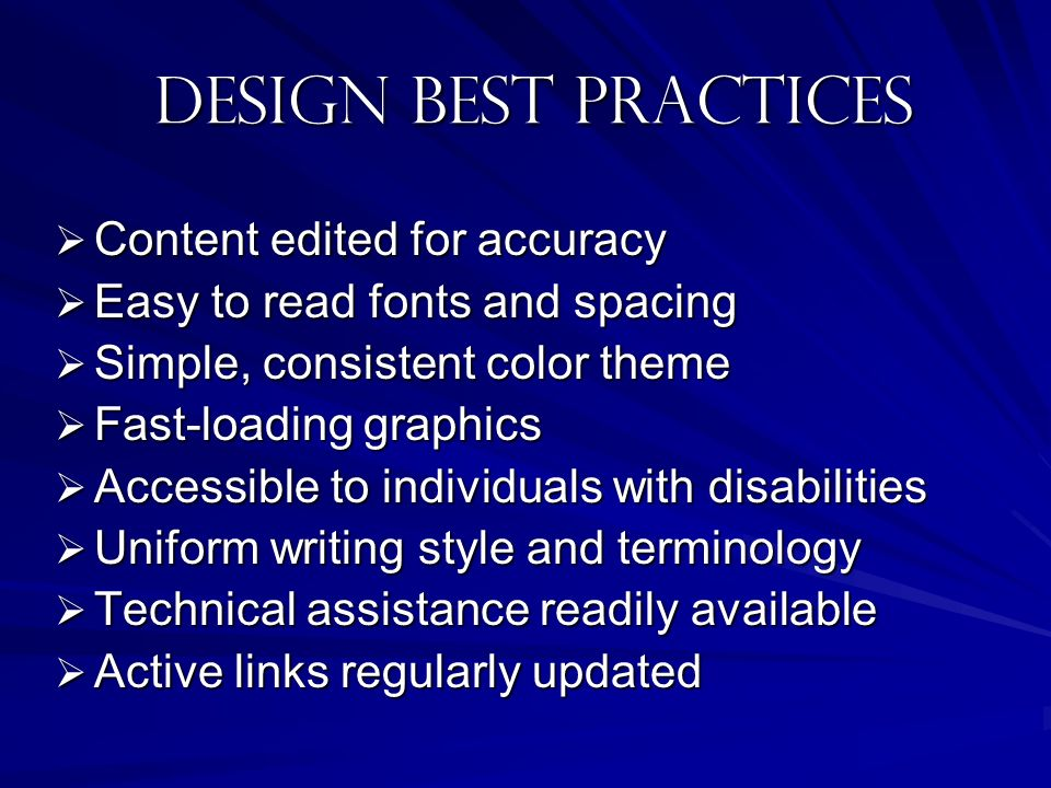 Design best practices Content edited for accuracy