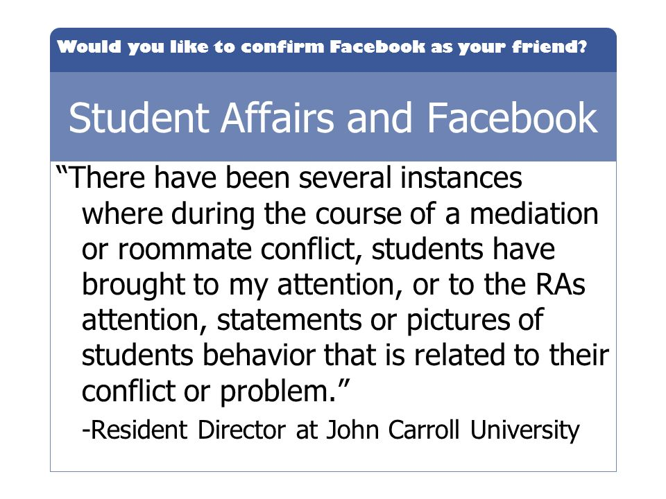 Student Affairs and Facebook