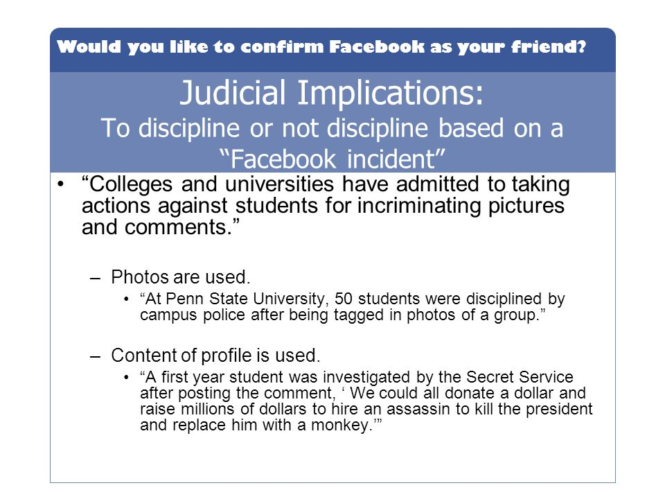 Judicial Implications: To discipline or not discipline based on a Facebook incident