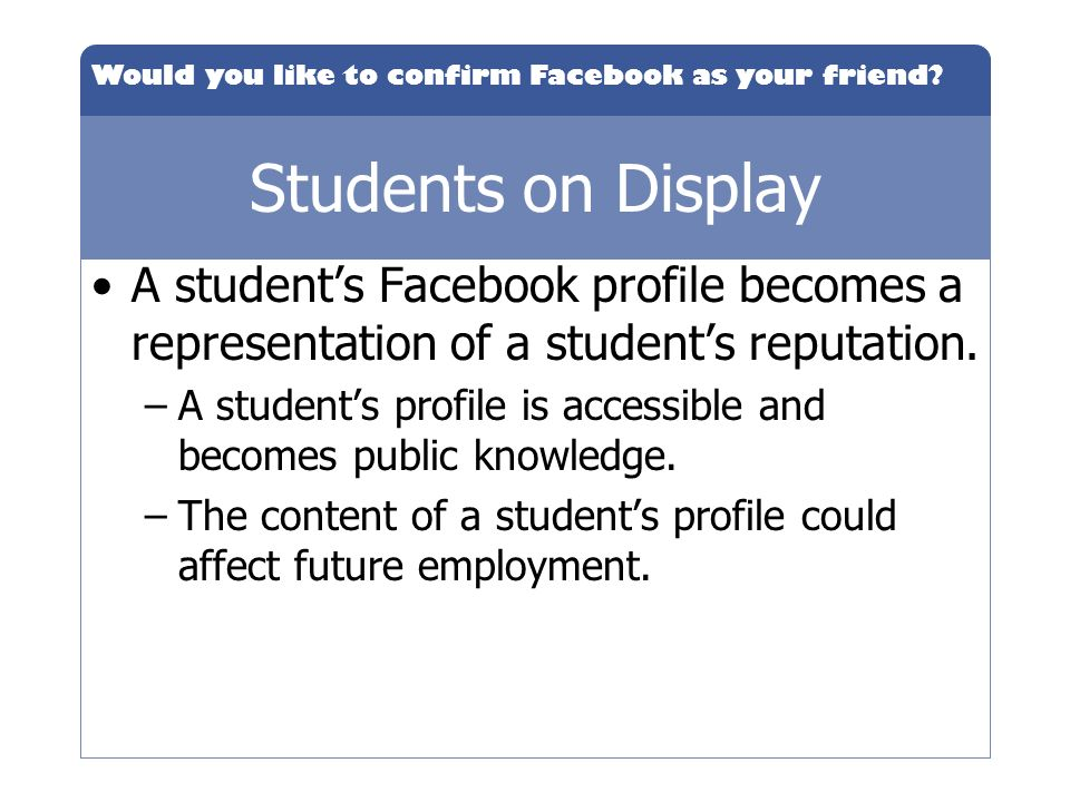 Students on Display A student's Facebook profile becomes a representation of a student's reputation.