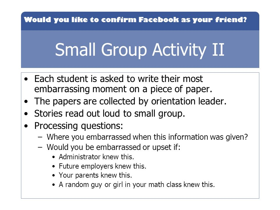 Small Group Activity II