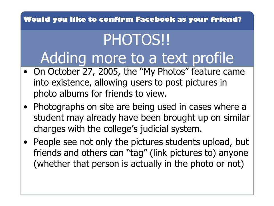 PHOTOS!! Adding more to a text profile