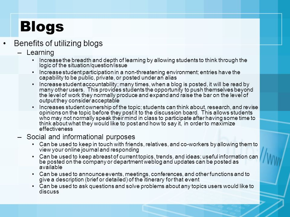 Blogs Benefits of utilizing blogs Learning