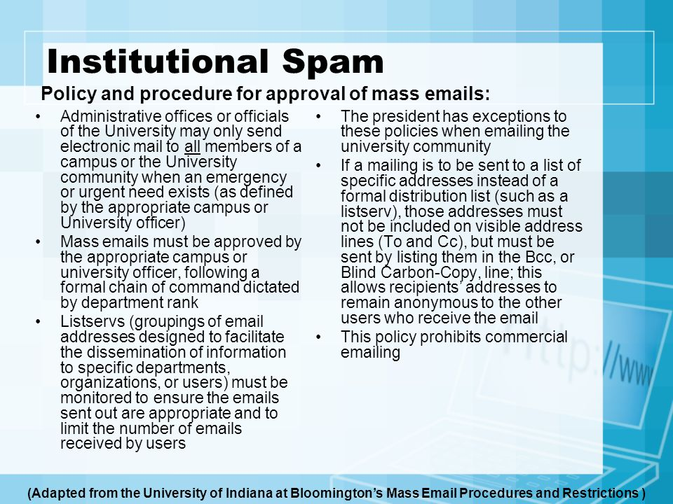 Institutional Spam Policy and procedure for approval of mass  s: