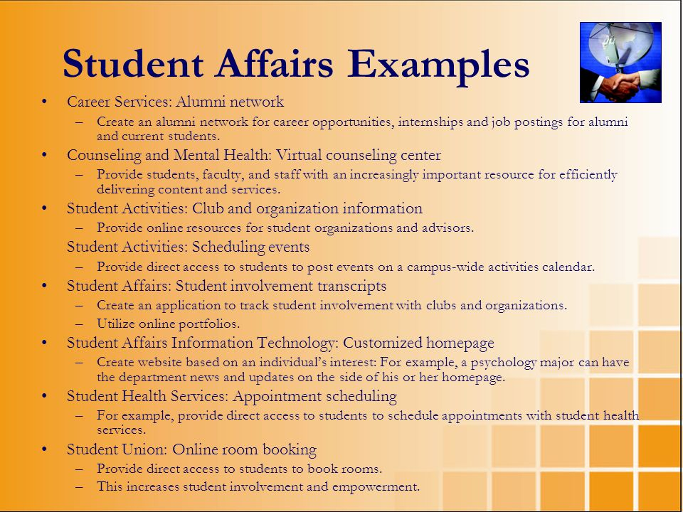 Student Affairs Examples