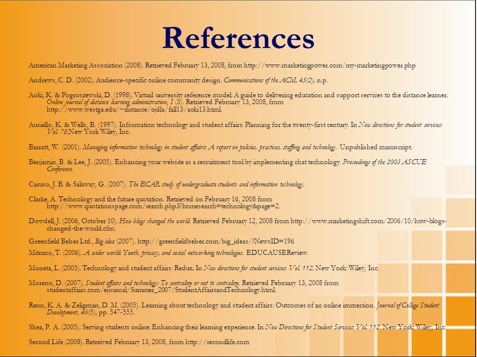 References American Marketing Association (2008). Retrieved February 13, 2008, from http://www.marketingpower.com/my-marketingpower.php.