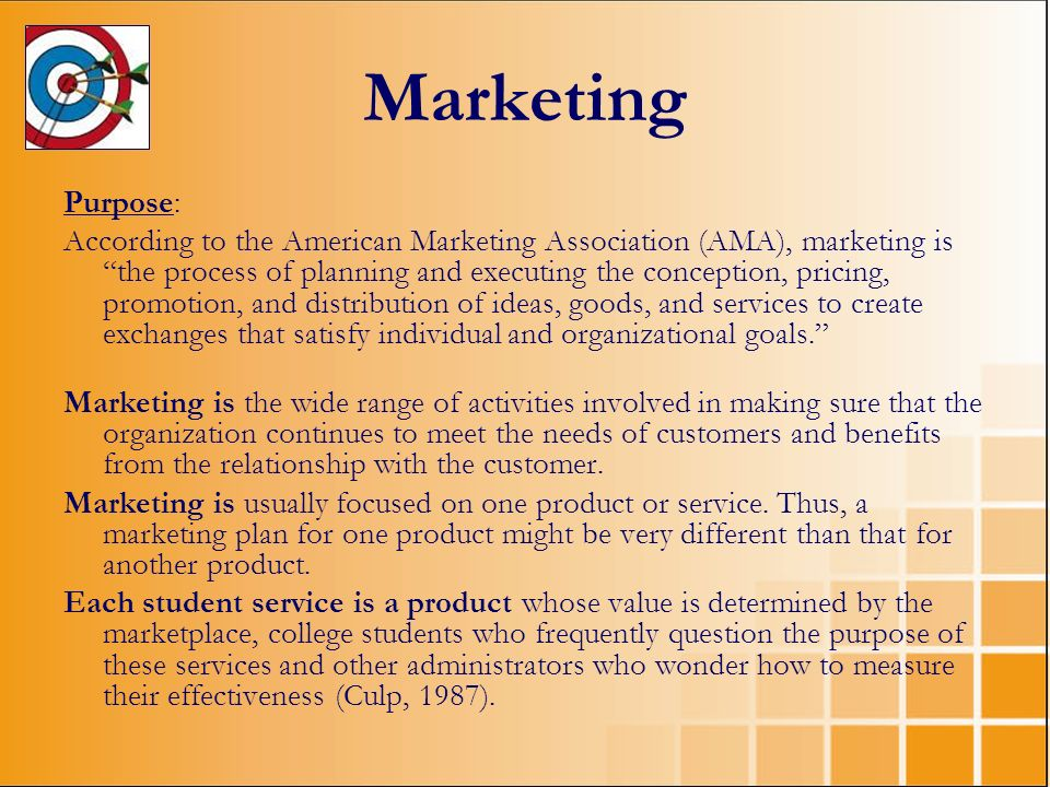 Marketing Purpose: