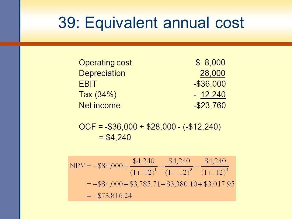 equivalent annual cost Equivalent annual cost calculation (eac) is a free template to compare and take decisions on investments with the help of the method of equivalent annual cost for one or more investment alternatives.
