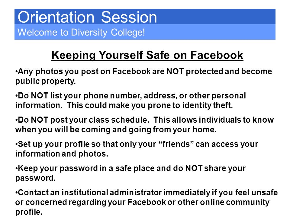 Keeping Yourself Safe on Facebook