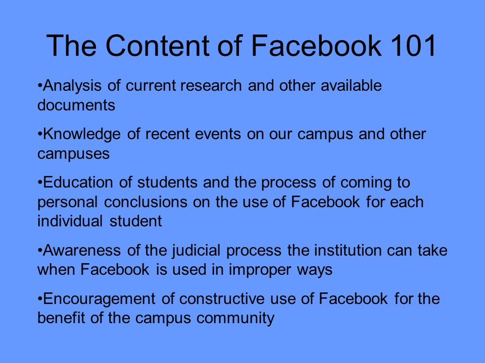 The Content of Facebook 101