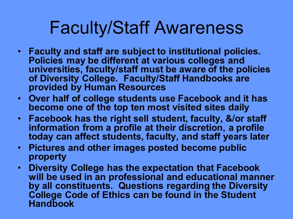 Faculty/Staff Awareness