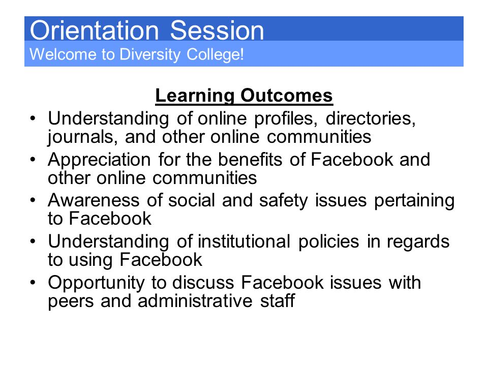 Orientation Session Learning Outcomes