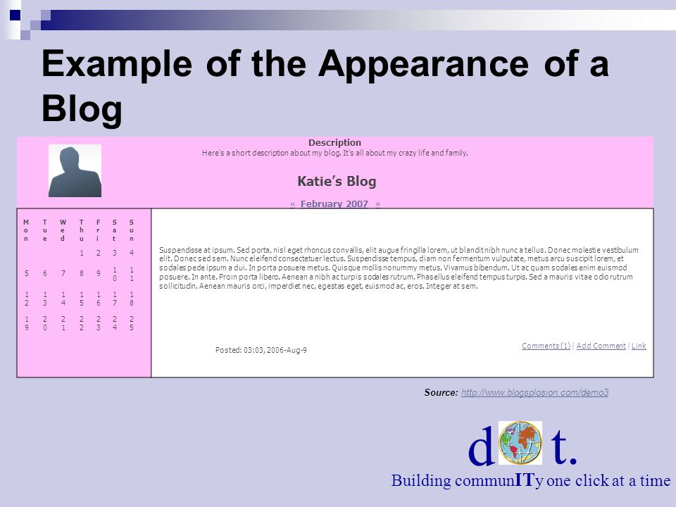 Example of the Appearance of a Blog