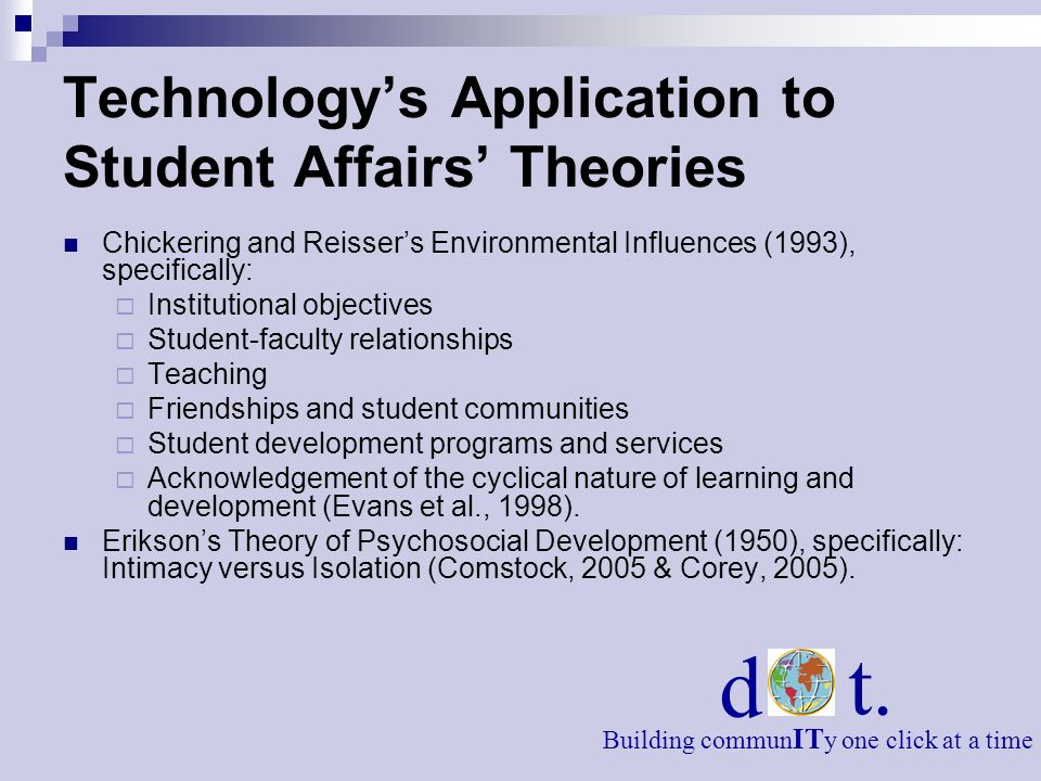 Technology's Application to Student Affairs' Theories