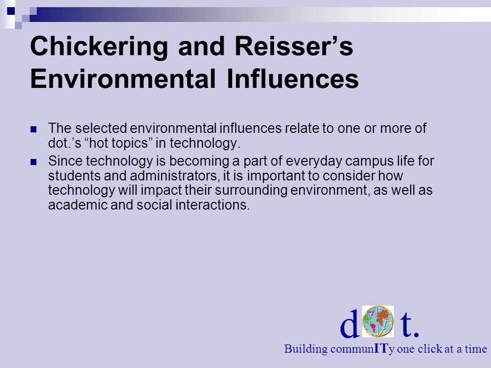 Chickering and Reisser's Environmental Influences