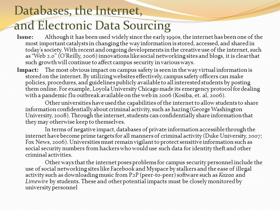 Databases, the Internet, and Electronic Data Sourcing