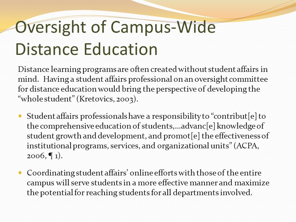Oversight of Campus-Wide Distance Education
