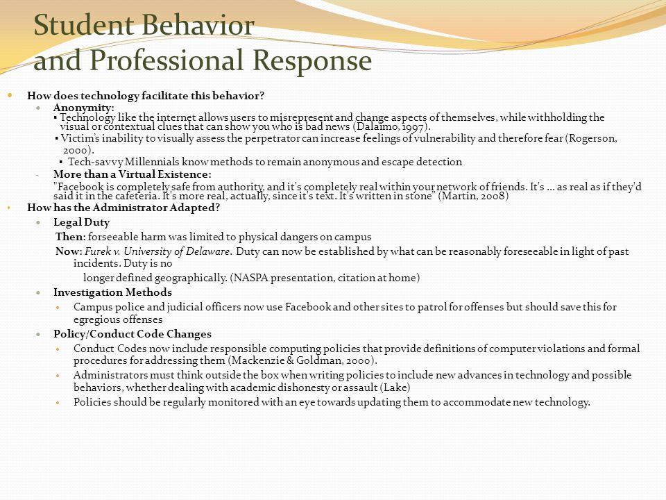 Student Behavior and Professional Response