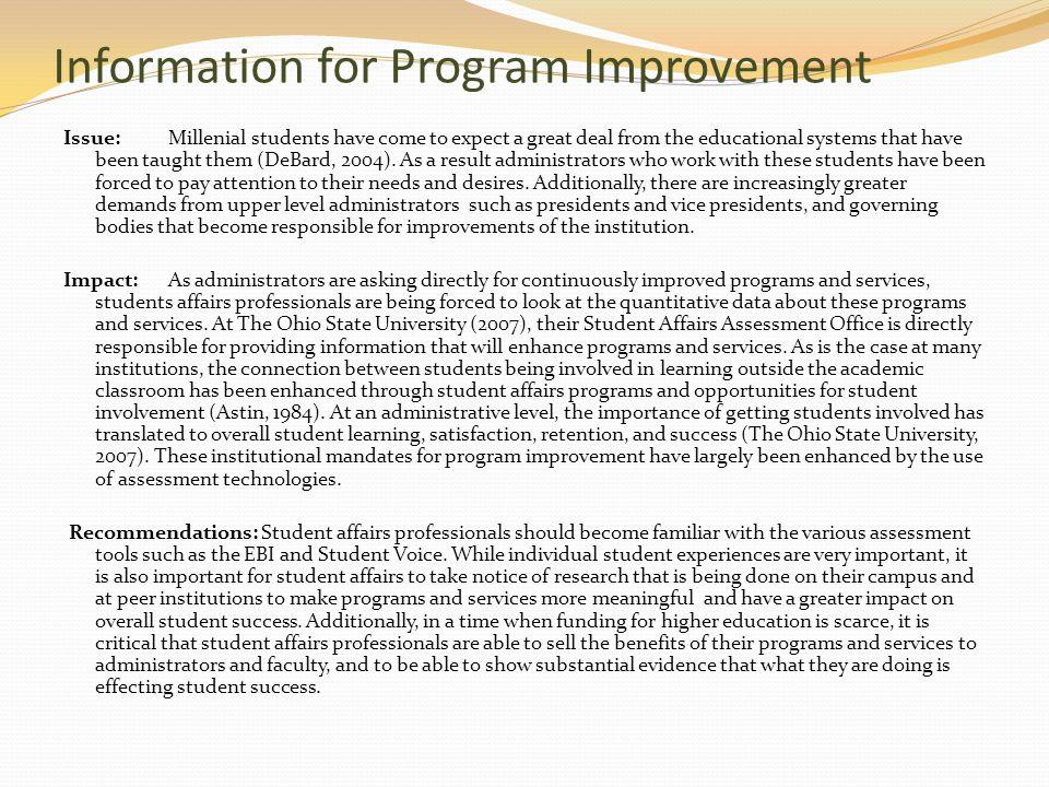 Information for Program Improvement