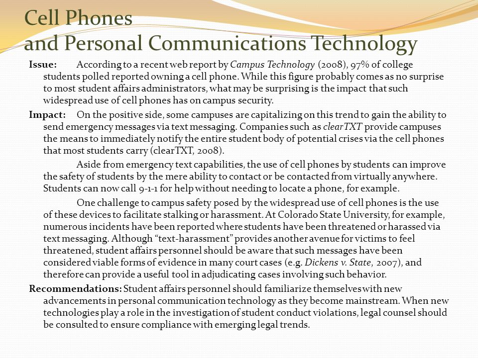 Cell Phones and Personal Communications Technology