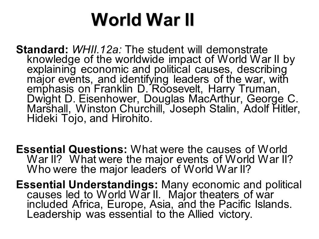 the major players and effects of world war ii The role of the american family in world war ii in the  the first major impact was  the americans who survived the devastating effects of world war ii hold.