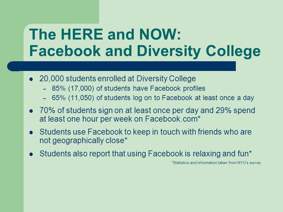 The HERE and NOW: Facebook and Diversity College