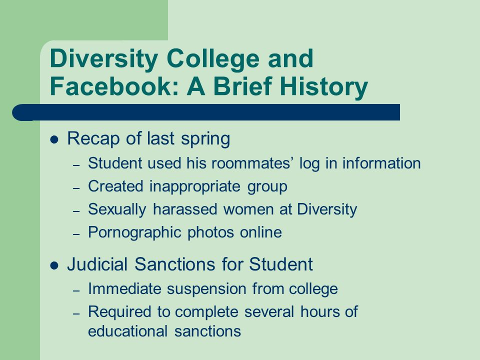 Diversity College and Facebook: A Brief History