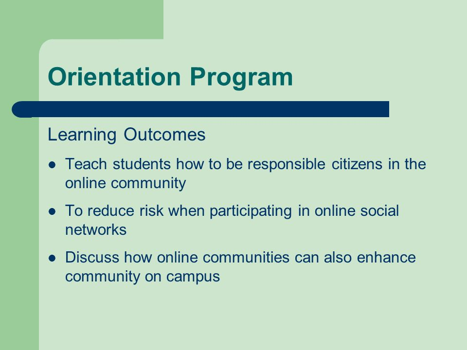 Orientation Program Learning Outcomes