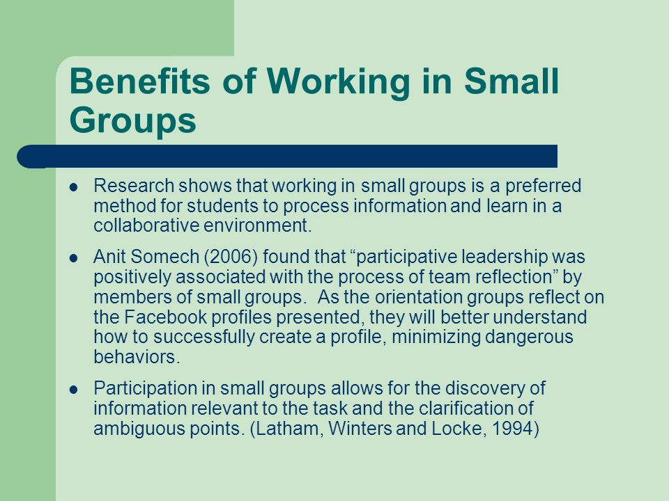 Benefits of Working in Small Groups