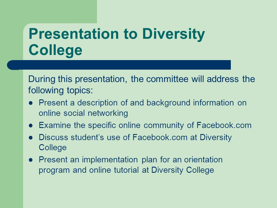 Presentation to Diversity College