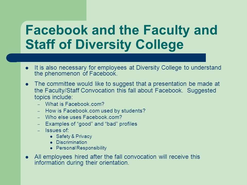 Facebook and the Faculty and Staff of Diversity College