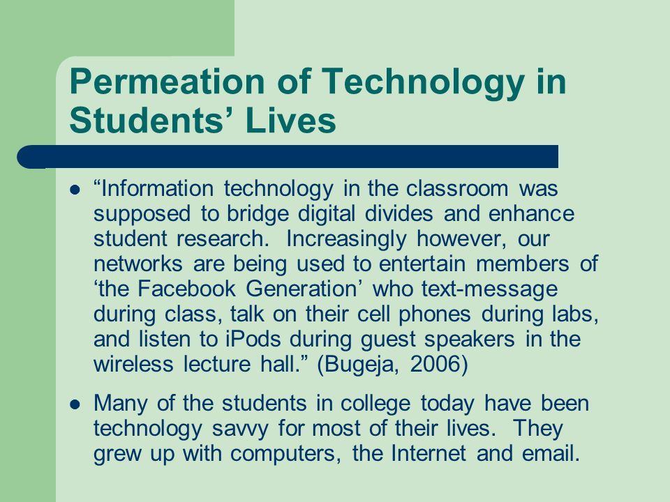 Permeation of Technology in Students' Lives