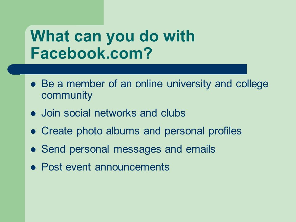 What can you do with Facebook.com