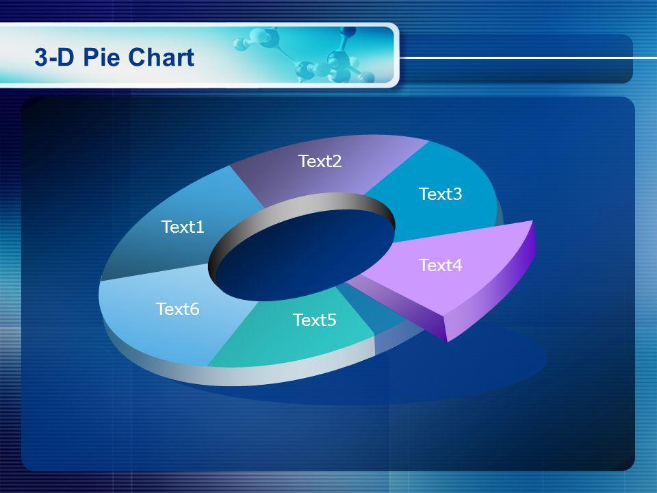 3-D Pie Chart Text2 Text3 Text1 Text4 Text6 Text5